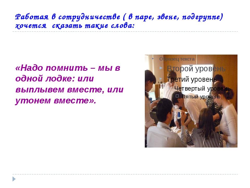Работая в сотрудничестве ( в паре, звене, подгруппе) хочется сказать такие с...