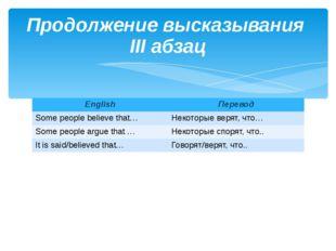 Продолжение высказывания III абзац English Перевод Some people believe that…