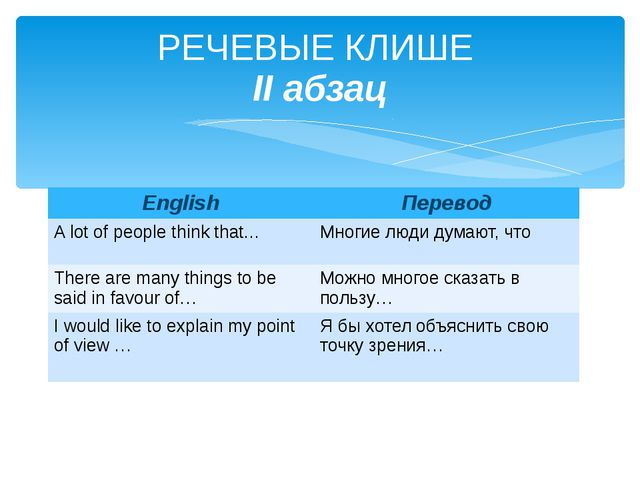 РЕЧЕВЫЕ КЛИШЕ II абзац English Перевод A lot of people think that… Многие люд...