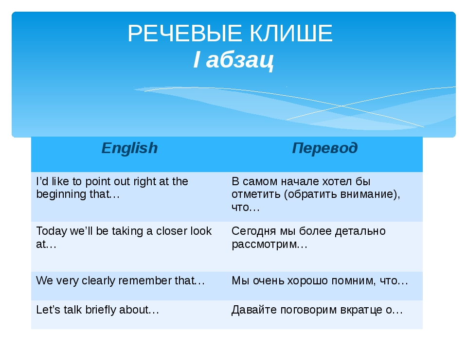 РЕЧЕВЫЕ КЛИШЕ I абзац English Перевод I'd like to point out right at the begi...