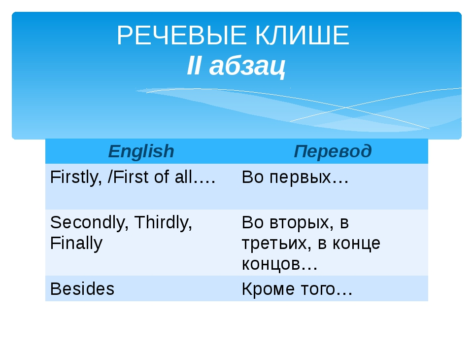 РЕЧЕВЫЕ КЛИШЕ II абзац English Перевод Firstly, /First of all…. Во первых… Se...