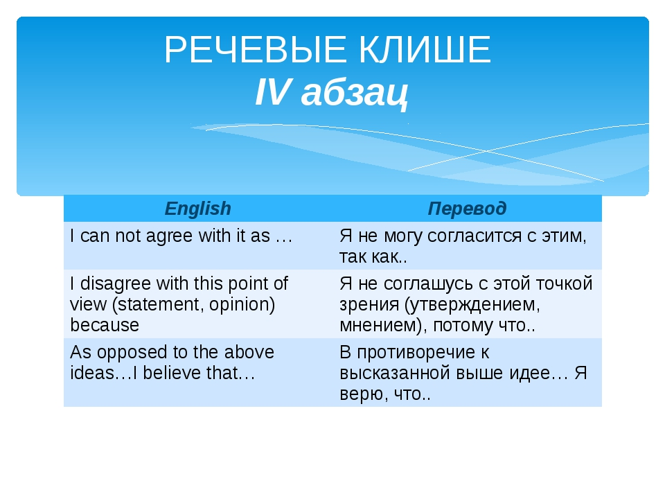 РЕЧЕВЫЕ КЛИШЕ IV абзац English Перевод I can not agree with it as … Я не могу...