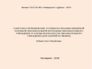 САНИТАРНО-ГИГИЕНИЧЕСКИЕ УСЛОВИЯ РЕАЛИЗАЦИИ ПРИМЕРНОЙ ОСНОВНОЙ ОБРАЗОВАТЕЛЬНО