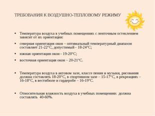 ТРЕБОВАНИЯ К ВОЗДУШНО-ТЕПЛОВОМУ РЕЖИМУ Температура воздуха в учебных помещени