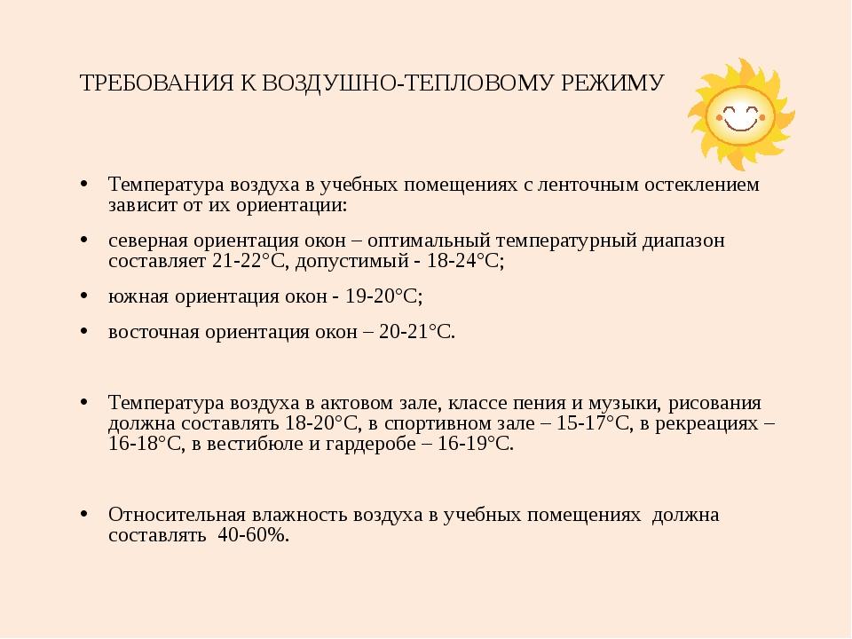 ТРЕБОВАНИЯ К ВОЗДУШНО-ТЕПЛОВОМУ РЕЖИМУ Температура воздуха в учебных помещени...