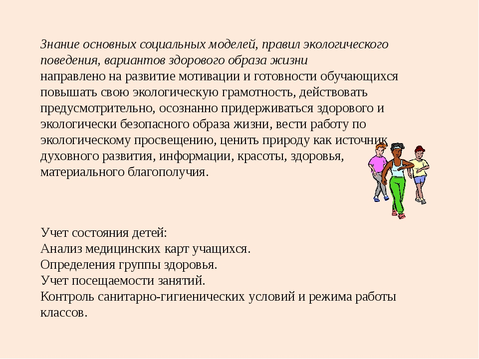 Знание основных социальных моделей, правил экологического поведения, варианто...