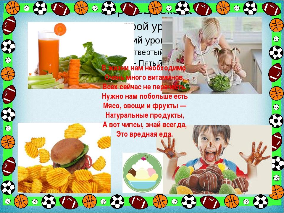 В жизни нам необходимо Очень много витаминов, Всех сейчас не перечесть. Нужн...