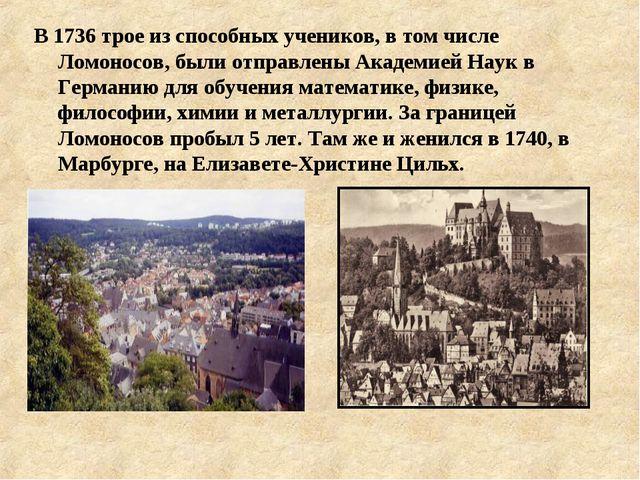 В 1736 трое из способных учеников, в том числе Ломоносов, были отправлены Ака...