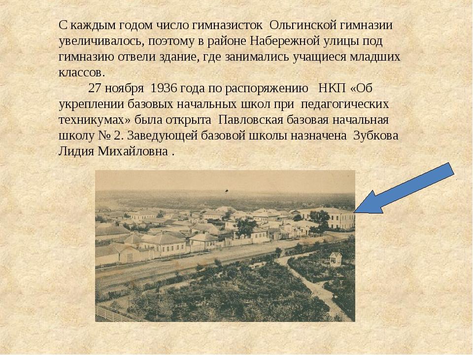 С каждым годом число гимназисток Ольгинской гимназии увеличивалось, поэтому в...