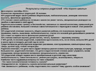 Результаты опроса родителей «На пороге школы» Дата опроса: сентябрь 2011 г.