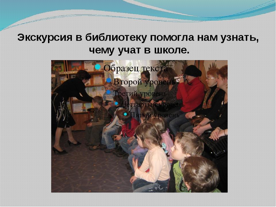 Экскурсия в библиотеку помогла нам узнать, чему учат в школе.