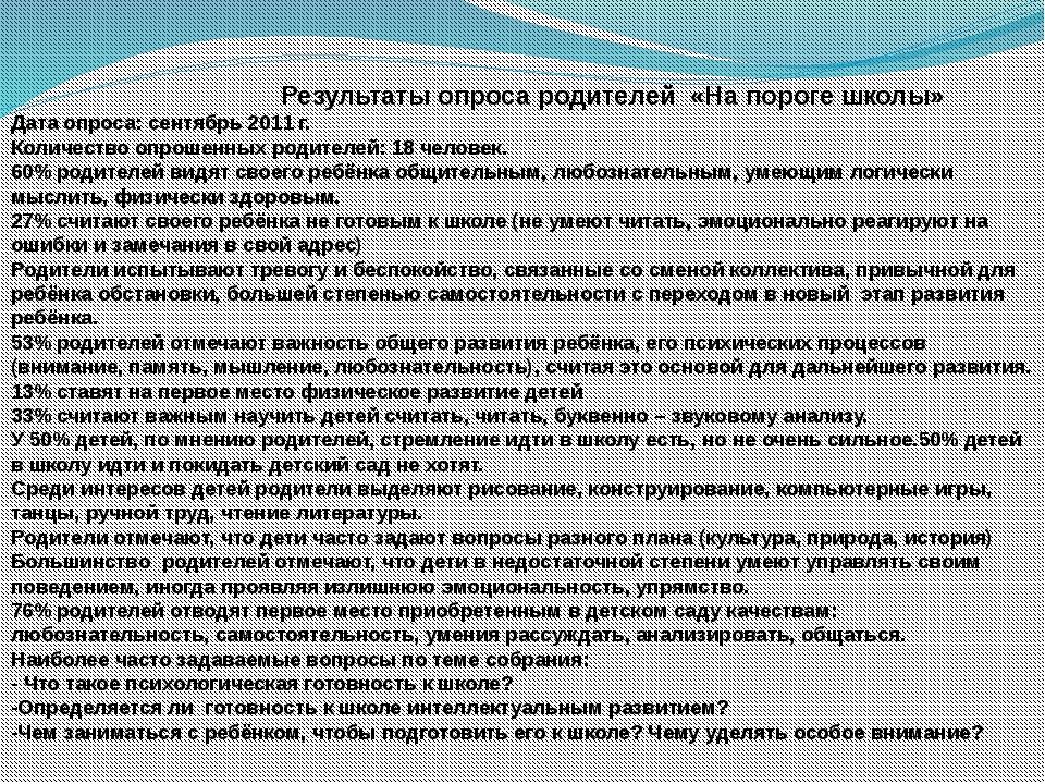 Результаты опроса родителей «На пороге школы» Дата опроса: сентябрь 2011 г....