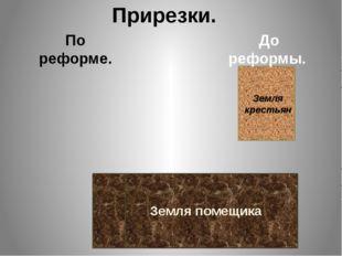 Земля помещика Земля крестьян Прирезки. По реформе. До реформы.