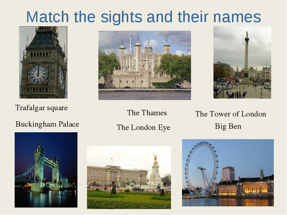 Match the sights and their names Trafalgar square Buckingham Palace The Thame...