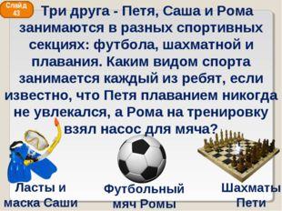 Футбольный мяч Ромы Шахматы Пети Ласты и маска Саши Слайд 43 Три друга - Петя