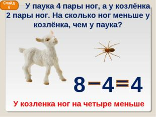 У паука 4 пары ног, а у козлёнка 2 пары ног. На сколько ног меньше у козлёнк