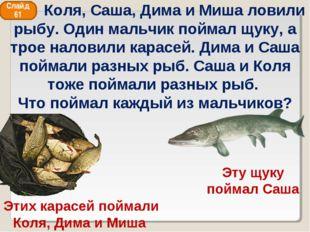 Этих карасей поймали Коля, Дима и Миша Эту щуку поймал Саша Слайд 61 Коля, Са