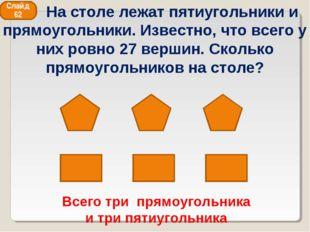 Всего три прямоугольника и три пятиугольника Слайд 62 На столе лежат пятиугол