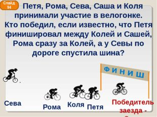 Сева Рома Коля Петя Победитель заезда - Саша Слайд 94 Петя, Рома, Сева, Саша