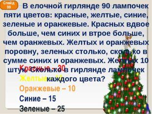 Красные – 30 Желтые – 10 Оранжевые – 10 Синие – 15 Зеленые – 25 Слайд 99 В ел