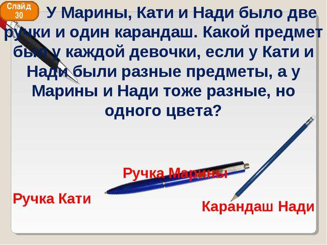 Ручка Кати Ручка Марины Карандаш Нади Слайд 30 У Марины, Кати и Нади было две...