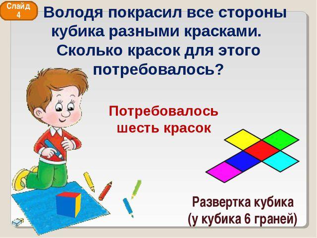 Развертка кубика (у кубика 6 граней) Слайд 4 Володя покрасил все стороны куби...