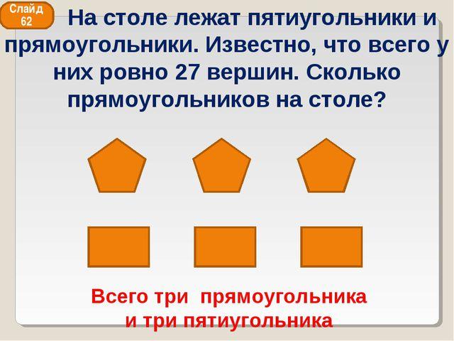 Всего три прямоугольника и три пятиугольника Слайд 62 На столе лежат пятиугол...