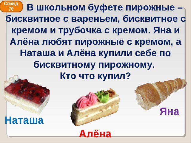 Алёна Наташа Яна Слайд 70 В школьном буфете пирожные – бисквитное с вареньем,...