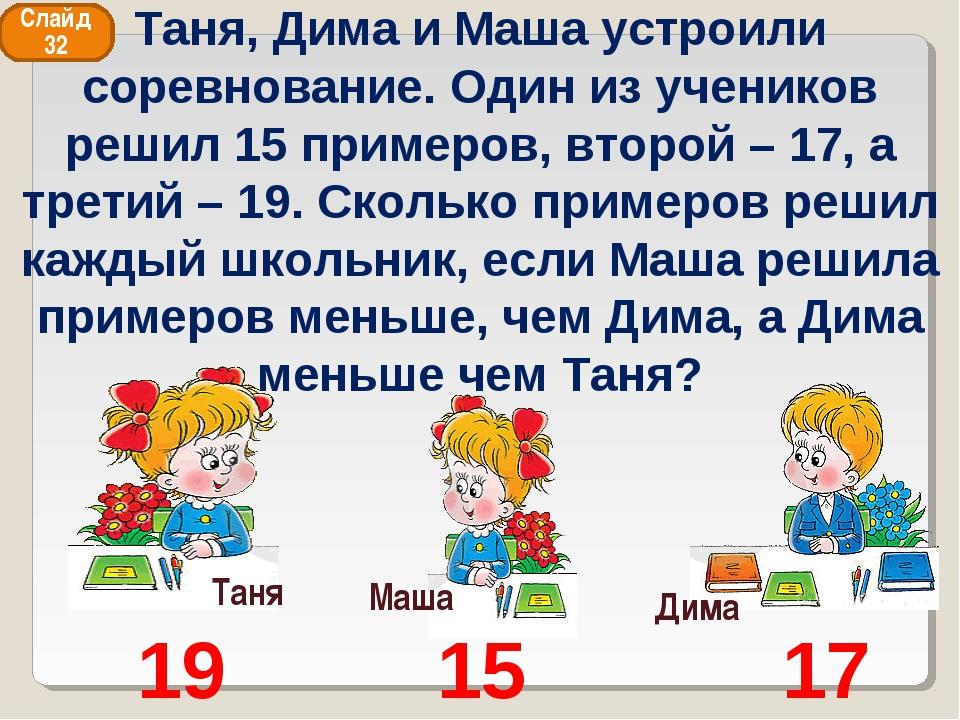 Таня Дима Маша 19 15 17 Слайд 32 Таня, Дима и Маша устроили соревнование. Оди...