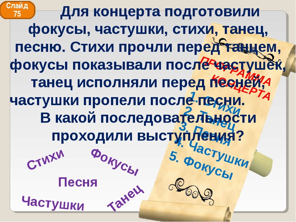 Фокусы Песня Танец Стихи Частушки Слайд 75 Для концерта подготовили фокусы, ч...