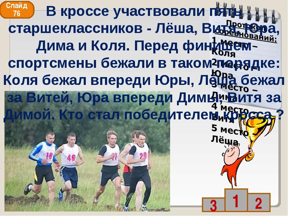 Слайд 76 В кроссе участвовали пять старшеклассников - Лёша, Витя, Юра, Дима и...