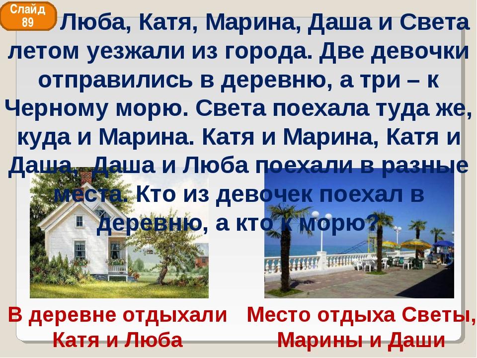 Место отдыха Светы, Марины и Даши В деревне отдыхали Катя и Люба Слайд 89 Люб...