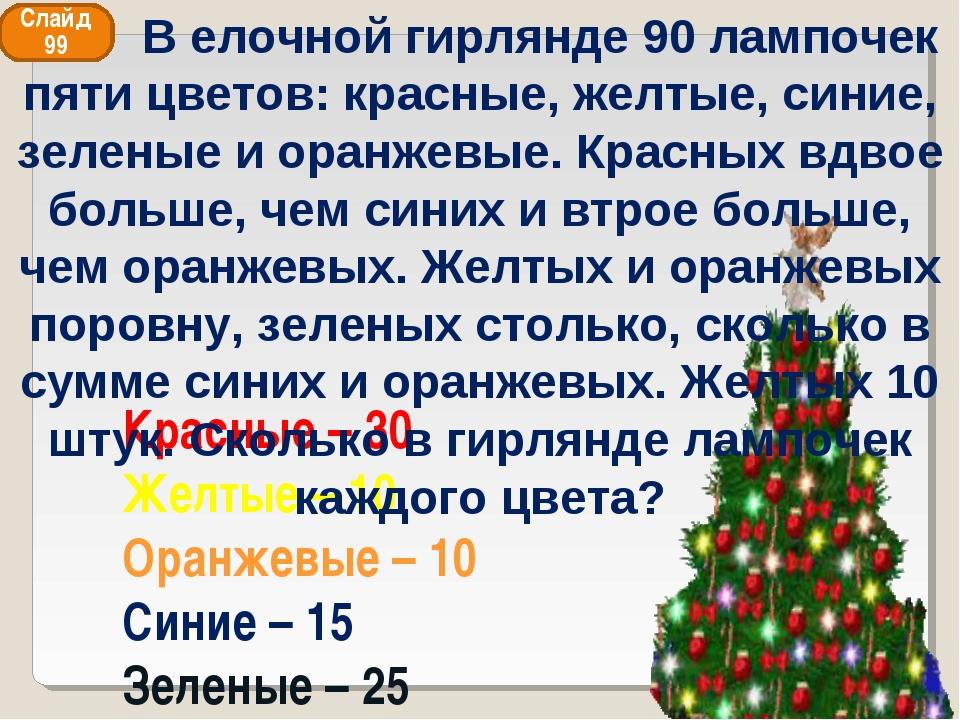 Красные – 30 Желтые – 10 Оранжевые – 10 Синие – 15 Зеленые – 25 Слайд 99 В ел...