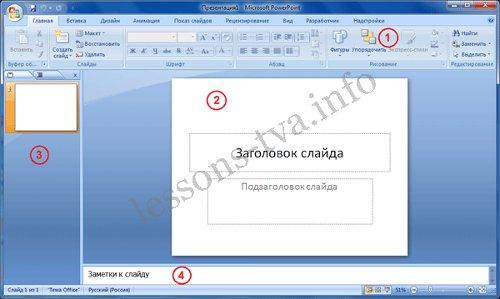 Программа PowerPoint 2007 в режиме Обычный