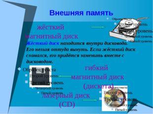 Внешняя память жёсткий магнитный диск гибкий магнитный диск (дискета) лазерны