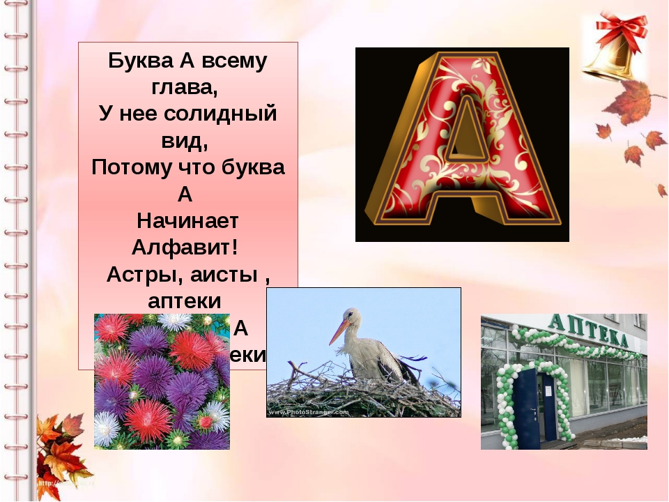 Буква А всему глава, У нее солидный вид, Потому что буква А Начинает Алфавит!...