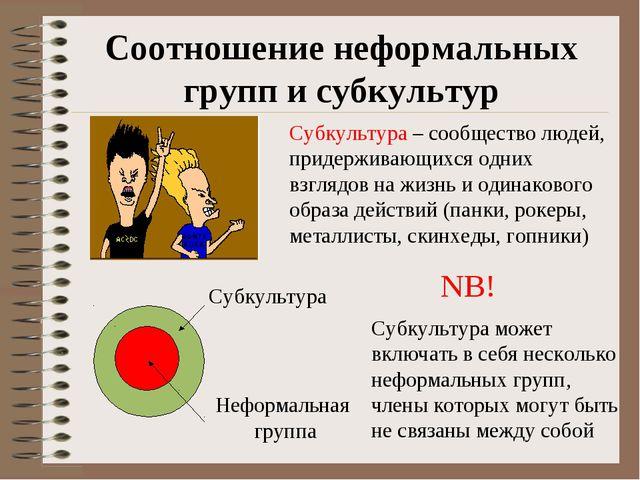 Соотношение неформальных групп и субкультур Субкультура – сообщество людей, п...