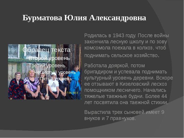 Бурматова Юлия Александровна Родилась в 1943 году. После войны закончила лесн...