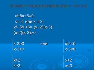x²-5x+6=0  х =2 или х = 3 x²- 5х +6= (х -2)(х-3) (х-2)(х-3)>0  х-2>0 ил
