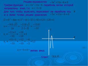 Решим неравенство . График функции - парабола, ветви которой направлены вниз