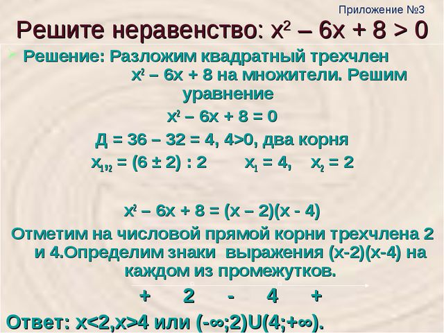 Решите неравенство: х2 – 6х + 8 > 0 Решение: Разложим квадратный трехчлен х2...