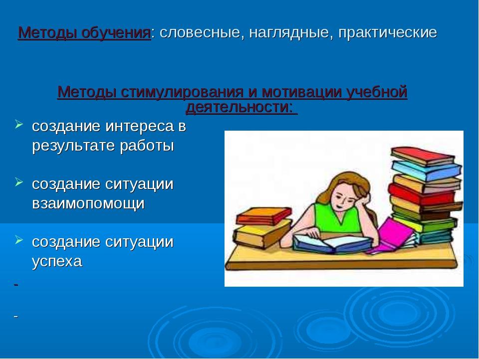 Методы обучения: словесные, наглядные, практические Методы стимулирования и м...
