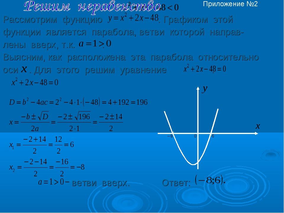 Рассмотрим функцию . Графиком этой функции является парабола, ветви которой...