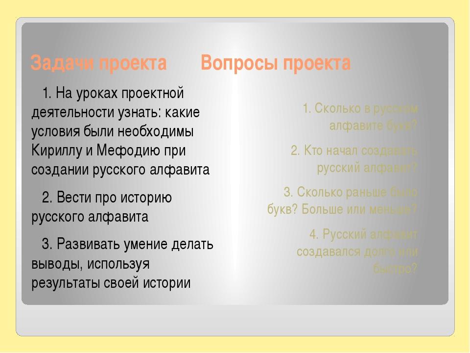 Задачи проекта Вопросы проекта 1. На уроках проектной деятельности узнать: ка...
