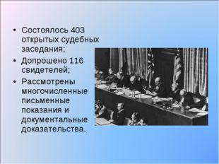 Состоялось 403 открытых судебных заседания; Допрошено 116 свидетелей; Рассмот