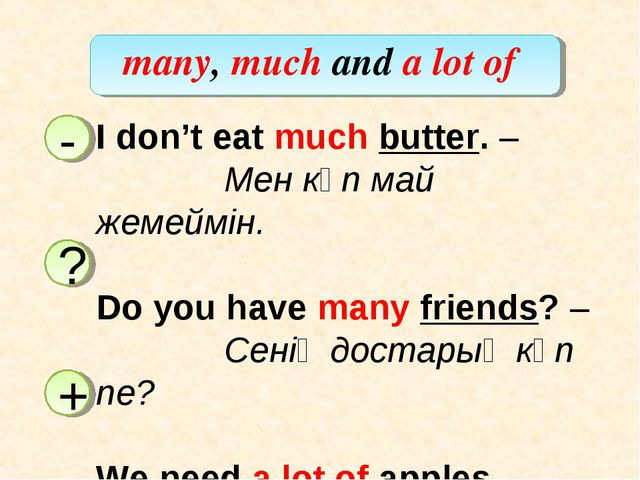 many, much and a lot of I don't eat much butter. – 		Мен көп май жемеймін. Do...
