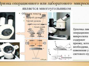 Призма операционного или лаборатоного микроскопа является многоугольником Цеп