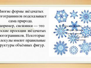 Многие формы звёздчатых многогранников подсказывает сама природа. Например,с