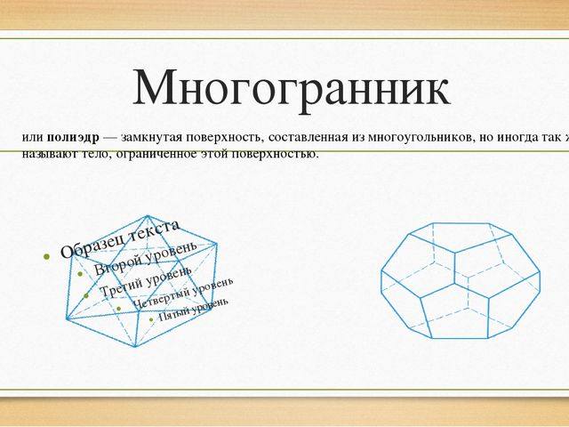 Многогранник илиполиэдр— замкнутая поверхность, составленная измногоугольн...