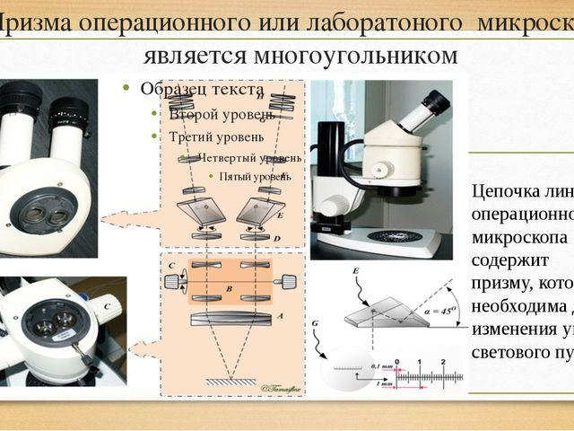 Призма операционного или лаборатоного микроскопа является многоугольником Цеп...
